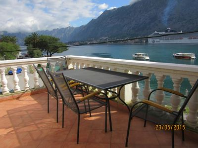 Photo for Stunning apartment & views overlooking Kotor Bay, fjord & sea.