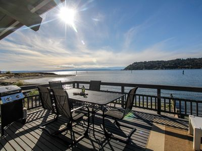 Photo for NEW LISTING! Bayfront home with views, cable, patio and wood-burning fireplace!