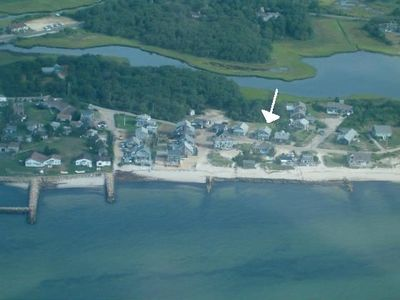 Aerial view of neighborhood - The Simpson Cottage is indicated by the arrow