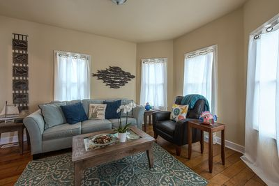 ~  - Living room has a 48-inch HDTV and a sleeper sofa that can accommodate two.