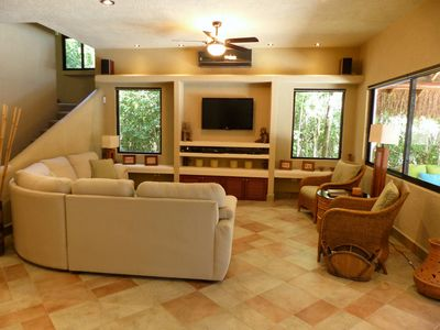 Sink into the comfortable couches and enjoy HBO/Max on the 42 inch TV
