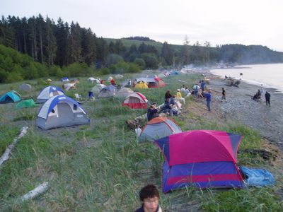 Room for over 50 tents on the beach front camp ground.  Personal camp fires ok.