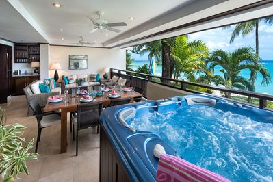 The amazing beachfront patio has a jacuzzi with views of the Caribbean sea