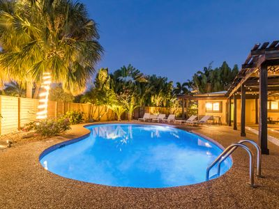 Photo for Luxury Home: Corner lot, enormous private pool, close to beach, very private