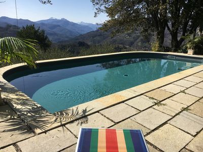 Our  solar heated pool  with a view at Lr Mura Villa Tuscany