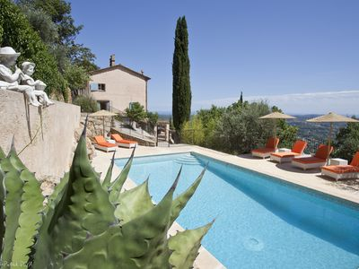 Photo for Charming 4-star holiday cottage on a family property w/sea view and heated pool