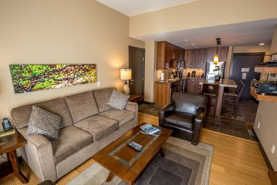 The open plan living area is bright and airy - there's lots of space to gather together