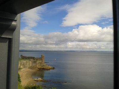 Panoramic views of St Andrews Castle and the beaches from our house