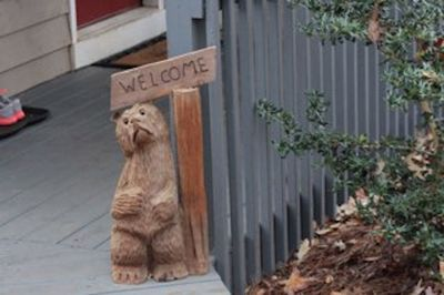 Benny the bear welcomes you.