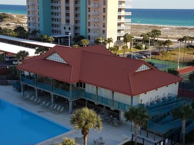 Clubhouse, pool,  gulf, tennis courts. View from my kitchen balcony.