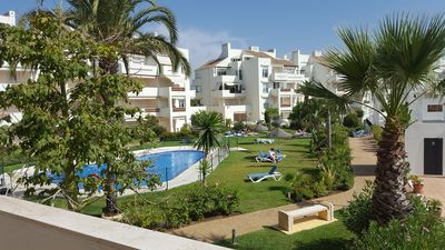 Photo for Fabulous 3 bed corner apartment, with stunning sea, golf ad mountain views