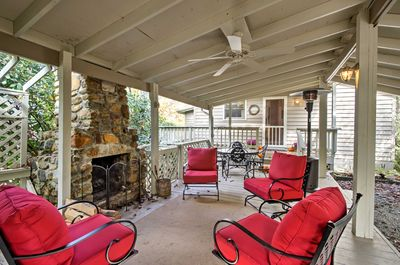 Spend evenings around the stone hearth at this vacation rental house in Newland!