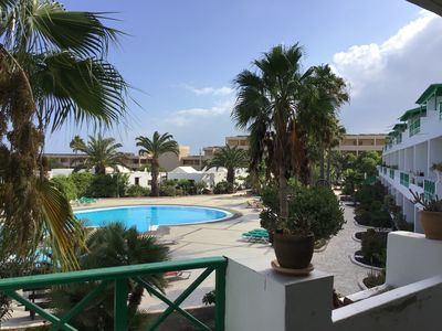 Photo for Modern 1 bed, first floor apartment with views over the pool to the sea