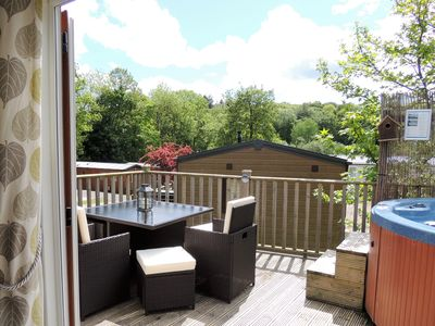 Photo for 3 bedroom, family friendly, pet friendly woodland lodge with hot tub at Finlake