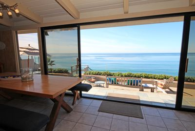 view from livingroom on to the patio and ocean