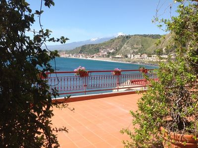 Photo for Apartment in Taormina on the sea with pool , near Isola Bella