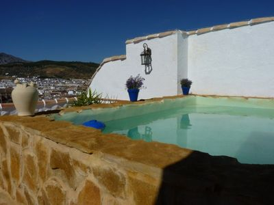 Private terrace & plunge pool with stunning views of  town & Torcal mountains
