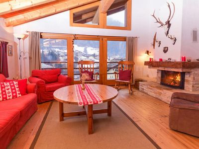 Photo for Surface area : about 240 m². Living room with bed-settee, fireplace. Dining area