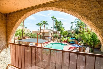 Balcony with fantastic pool view, best in complex