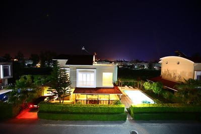 Lovely view of villa at night