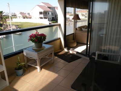 Balcony overlooking the channel leading to Laguna Madre