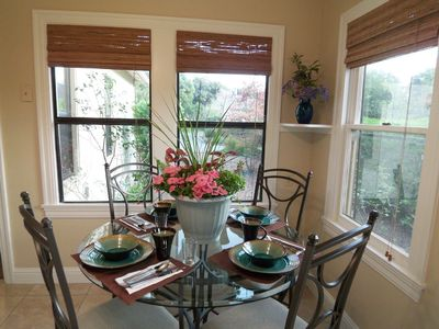 Kitchen table set and ready for dining