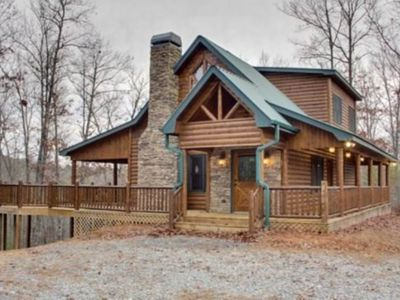 Photo for Lovely woodland cabin w/ foosball, billiards, board games, & a private hot tub