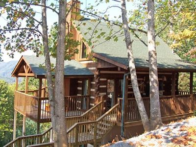 Photo for Beautiful retreat with a View - perfect for Couples! Hot Tub, Secluded, Fireplace and Jacuzzi.