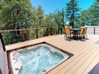 Photo for Dog-friendly cabin with private hot tub & stunning mountain views!