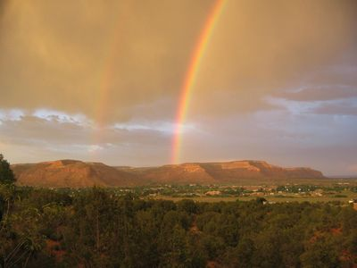 Rainbow over Kanab view from Cliffrose Cottage