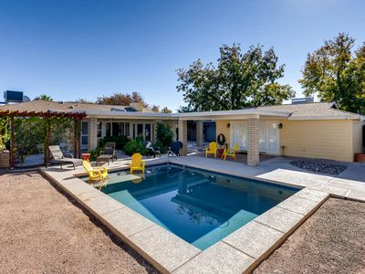 Photo for Uptown Mid-Century Modern Retreat with Heated Pool