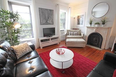 Two Large Windows In Living Room Overlooking Beautiful Prospect Park