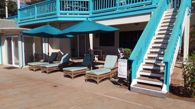 pool deck and stairs up to main lanai (deck)