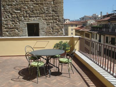 Large lovely terrace for outdoor dining  View of monuments-