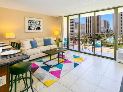 Photo for Beautiful Waikiki Banyan Condo 9th Floor | Pool and Ocean View | Parking