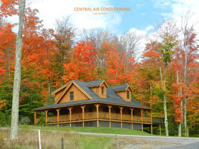 Photo for AUTHENTIC LOG CABIN--11 Acre Lake, Central AC, Hot tub, WiFi