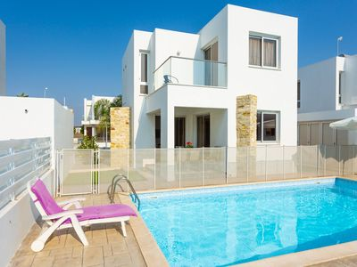 Photo for Villa Faros: Large Private Pool, Walk to Beach, A/C, WiFi