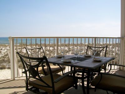 Have your meals or a snack on the gulf front balcony, just steps from the water!