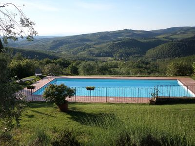 Photo for Apartment in villa with pool, WIFI, TV, patio, panoramic view, parking, close to Greve In Chianti