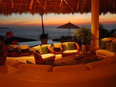 Main living area under the palapa with views of the ocean and Sayulita.