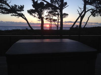 Brand new 6 person Hot Tub on new composite deck with ocean and sunset views.