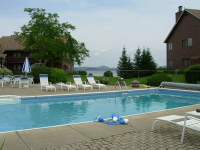 Heated pool with lakefront steps away!