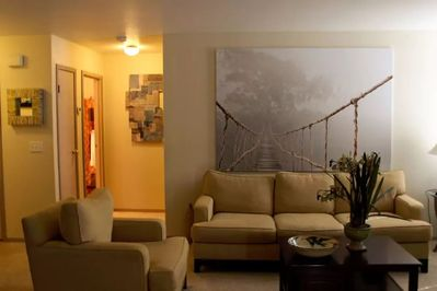 Larger than life art in the living room