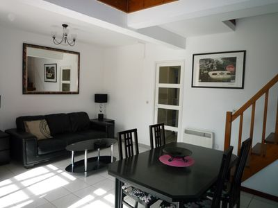 Photo for Nice duplex apartment 2 TERRACES + GARAGE, COMMON SWIMMING POOL, 800m from the beach