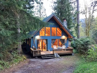 Photo for Mt Baker Rim Cabin #53 - A cozy cabin with a open fire place and outdoor hot tub