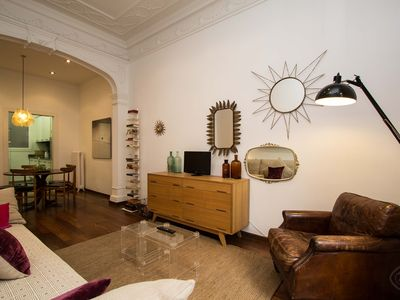 Photo for Beautifully designed two bedroom apartment, for up to five people, centrally located in Barcelona?s
