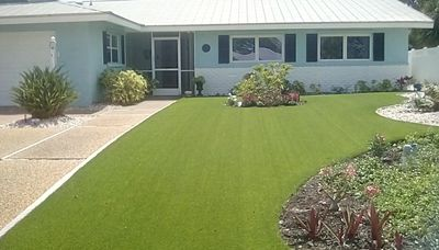 Newly painted..sea spray blue Love the grass it is astro turf!  no need to cut