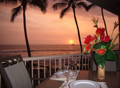 Watch the cruise ship sail into the sunset while enjoying dinner on the lanai.