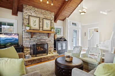 Living Room with Cozy Gas Log Fireplace