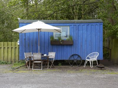Photo for The blue cabin shepherds hut by the river in york